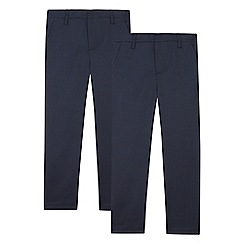 Debenhams - Pack of two boy's navy flat front school trousers