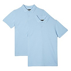 Debenhams - Pack of two boy's blue cotton school polo shirts