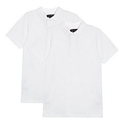 Debenhams - Pack of two boy's white pure cotton school polo shirts