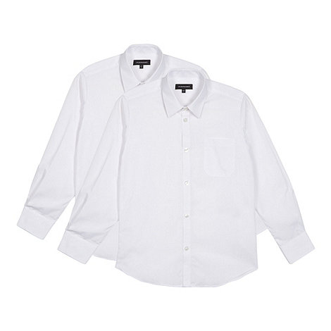 Debenhams - Pack of two boy+s white long sleeved school shirts