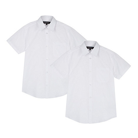 Debenhams - Pack of two boy+s white short sleeved school shirts