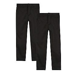 Debenhams - Pack of two boys' black skinny school trousers