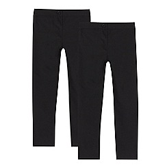 Debenhams - Pack of two girls' black skinny fit school trousers