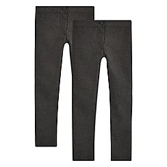 Debenhams - Pack of two girls' grey skinny fit trousers