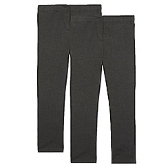 Debenhams - Pack of two girls' grey bootcut school trousers