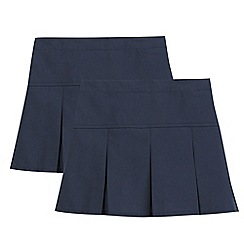 Debenhams - Pack of two girl's navy kilted school skirts
