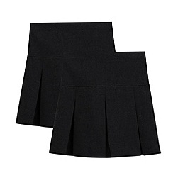 Debenhams - Pack of two girl's black kilt school skirts