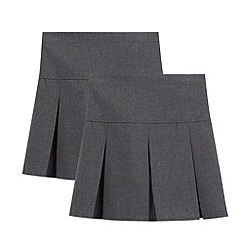 Debenhams - Pack of two girl's grey kilted school skirts