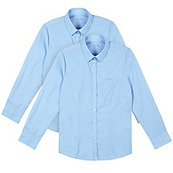 Debenhams - Pack of two girl's blue school blouses