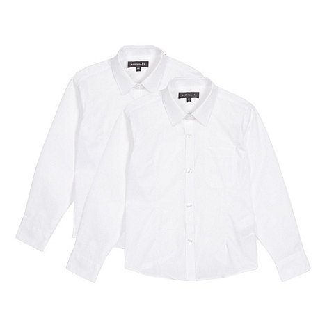 Debenhams - Pack of two girl+s white long sleeved school blouses
