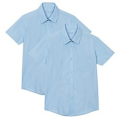 Debenhams - Pack of two girl's blue short sleeved school blouses
