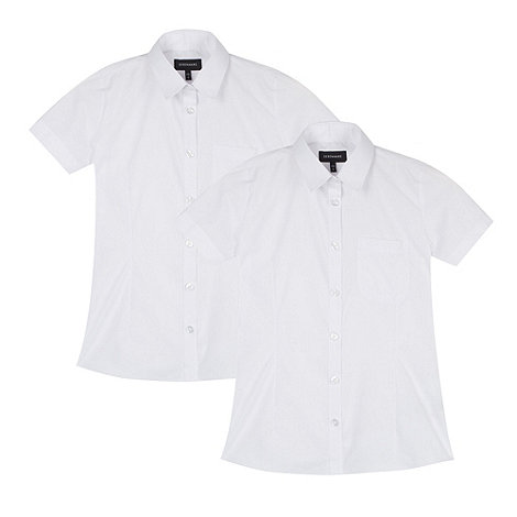 Debenhams - Pack of two girl+s white school blouses