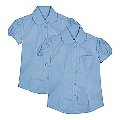 Debenhams - Set of 2 girls' blue short sleeve fitted school shirts