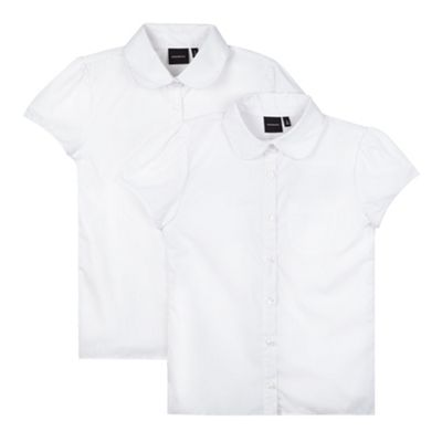 Debenhams Pack of two girls white fitted school blouses product image