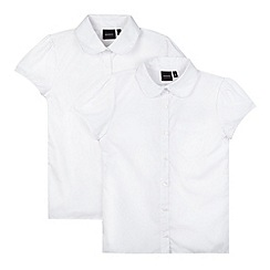 Debenhams - Pack of two girl's white fitted school blouses