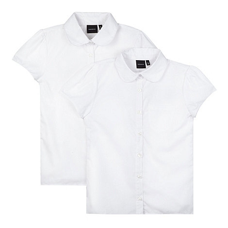 Debenhams - Pack of two girl+s white fitted school blouses