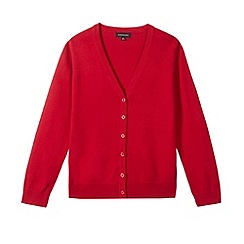 Debenhams - Girl's red V neck cardigan
