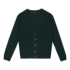Debenhams - Girl's green V neck school cardigan