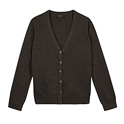 Debenhams - Girl's grey V neck school cardigan