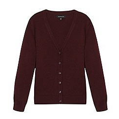 Debenhams - Girl's wine V neck school cardigan