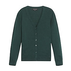 Debenhams - Girl's dark green V neck school cardigan