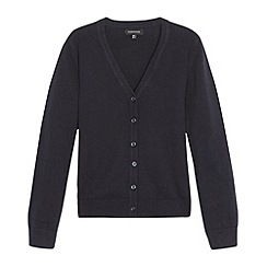 Debenhams - Girl's navy V neck school cardigan