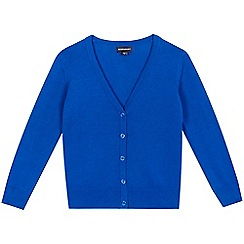 Debenhams - Girls' royal blue V-neck school cardigan
