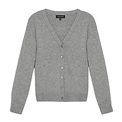 Debenhams - Girl's light grey V neck school cardigan