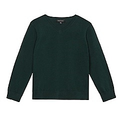 Debenhams - Dark green V-neck school jumper