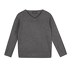 Debenhams - Grey school V-neck jumper