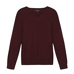 Debenhams - Children's wine V neck school jumper