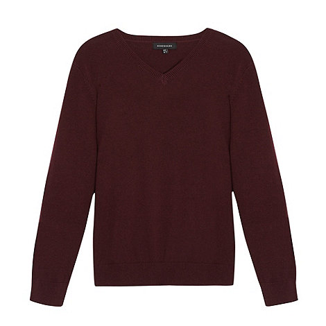 Debenhams - Children+s wine V neck school jumper