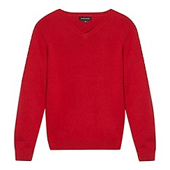 Debenhams - Children's red V neck school jumper