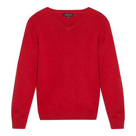 Debenhams - Red school V-neck jumper