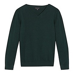 Debenhams - Children's dark green V neck school jumper