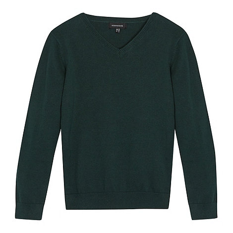 Debenhams - Children+s dark green V neck school jumper