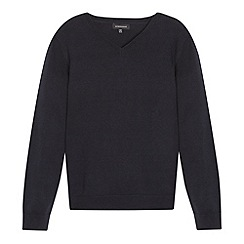 Debenhams - Children's navy V neck school jumper