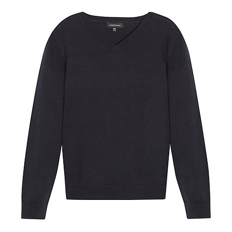 Debenhams - Children+s navy V neck school jumper