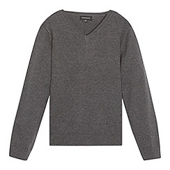 Debenhams - Children's grey V neck school jumper