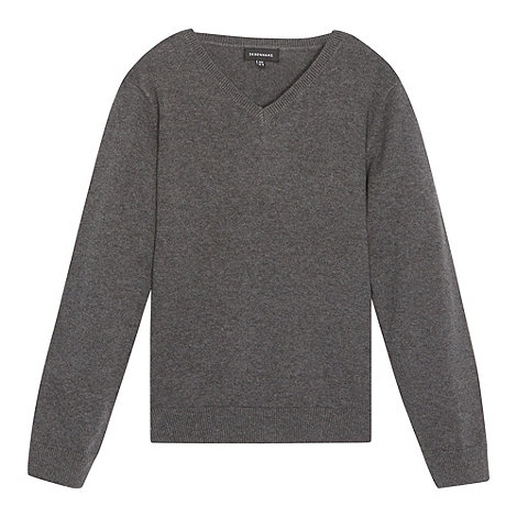 Debenhams - Children+s grey V neck school jumper