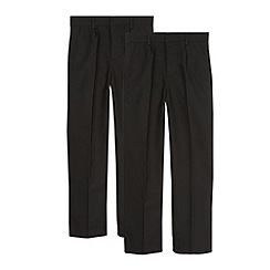 Debenhams - Pack of two boy's black pleated school trousers