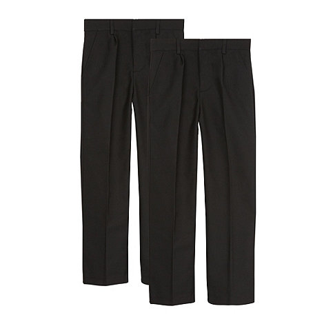 Debenhams - Pack of two boy+s black pleated school trousers