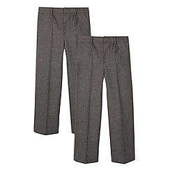 Debenhams - Pack of two boy's grey pleated school trousers