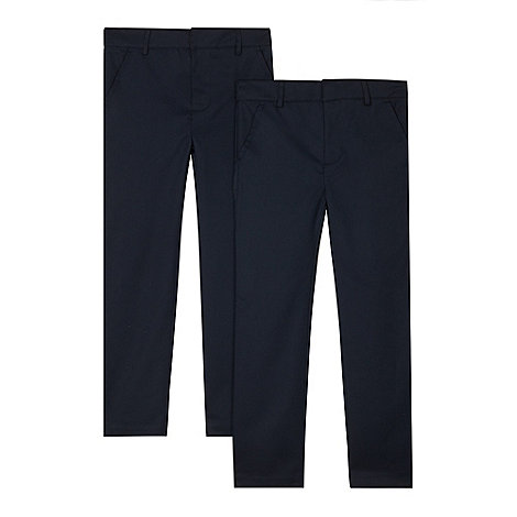 Debenhams - Pack of two boy+s navy flat front school trousers