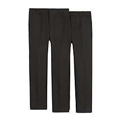 Debenhams - Pack of two boy's black flat front school trousers
