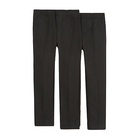 Debenhams - Pack of two boy+s black flat front school trousers