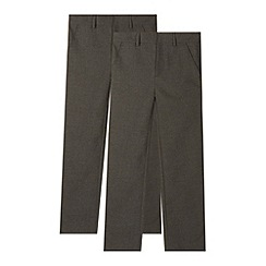 Debenhams - Pack of two boy's grey flat front school trousers