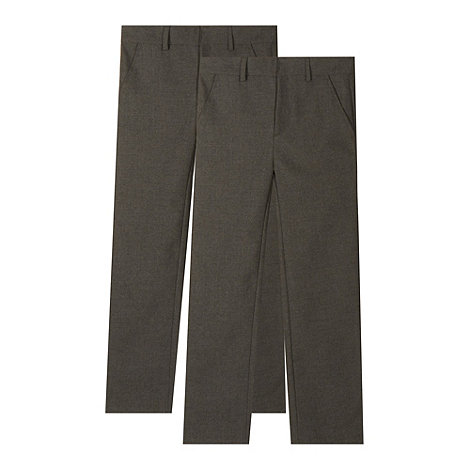 Debenhams - Pack of two boy+s grey flat front school trousers