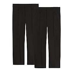 Debenhams - Pack of two boy's black generous fit pleated school trousers