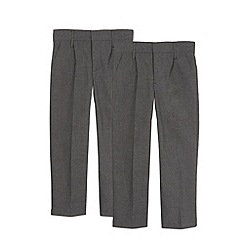 Debenhams - Pack of two boy's grey generous fit pleated school trousers